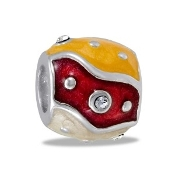 Red & Yellow Crystal Decorative Bead - TRUNK SALE