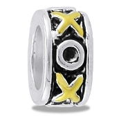 Gold and Silver X/O - Narrow - Bead