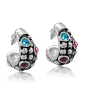 DaVinci Silver Drop Earrings with Crystals