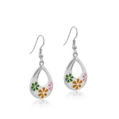 DaVinci White Teardrop Earrings with Flowers & Crystals