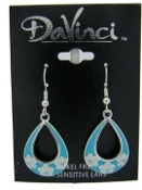DaVinci Light Blue Teardrop Earrings with Floral & Crystals