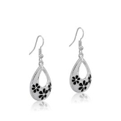 DaVinci Teardrop Earrings with Black Flowers