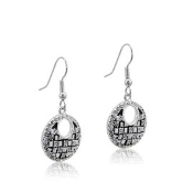 DaVinci Crystal and Black Round Earrings
