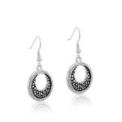 DaVinci Round Black and Silver Earrings