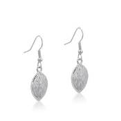 Davinci Leaf Shaped Silver Bark Earrings