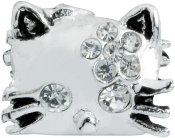 Kitty Crystal and Silver Plate Bead by Amanda Blu