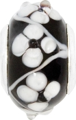 Black Bead with White Flowers by Amanda Blu
