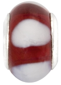 Red and White Striped Bead by Amanda Blu