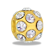 Gold CZ Ball Bead by DaVinci - TRUNK SALE - No Further Discounts