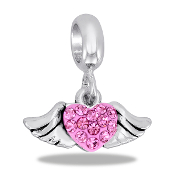 Pink Winged Pave Bead by DaVinci