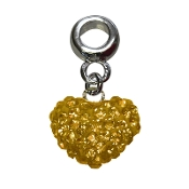November - Austrian Crystal Double Sided Heart Pave Bead