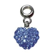 March - Austrian Crystal Double Sided Heart Pave Bead