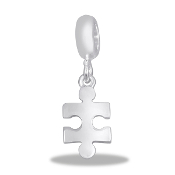 Puzzle Piece Silver Bead  - TRUNK SALE - No Further Discounts