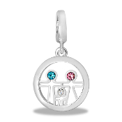 Crystal Family in Circle Drop Dangle For Lockets