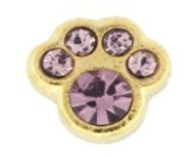 6- June Paw (Light Amethyst Crystal) Charm For Lockets