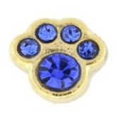 9- September Paw (Blue Crystal) Charm For Lockets