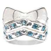 "Aquamarine (MAR) Chevron ""Stackable"" Czech Crystal & Silver Bead"