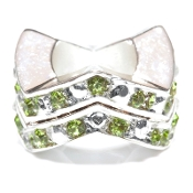 "Peridot (AUG) Chevron ""Stackable"" Czech Crystal & Silver Bead"