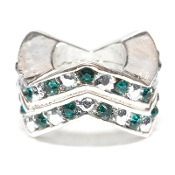 "Blue Zircon (JAN)Chevron ""Stackable"" Czech Crystal & Silver Bead"