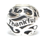 THANKFUL Round Fillagree Silver Bead By Amanda Blu®