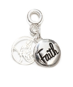 FAITH with Butterfly Silver Plate Dangle by Amanda Blu®