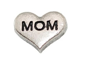MOM Silver Heart Charm For Lockets