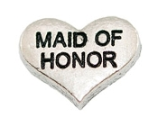 MAID OF HONOR Silver Heart Charm For Lockets