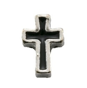 Black and Silver Cross Charm for Lockets