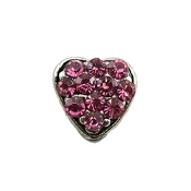 Pink Crystal Heart Charm For Lockets