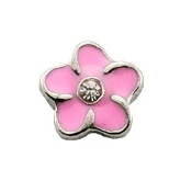 Pink Flower Charm for Lockets