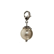 White Pearl Dangle (Lobster Claw Clip) For Lockets and Bracelets
