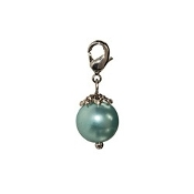 Aqua Pearl Dangle (Lobster Claw Clip) For Lockets and Bracelets