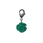 Teal Rose Bloom Dangle (Lobster Claw Clip) For Lockets