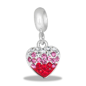 Pink, Red, and Crystal Pave Dangle Heart Bead by DaVinci
