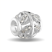 Fillagree Decorative Crystal Silver Bead by DaVinci®