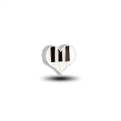Piano Keys in Heart Charm for Floating Keepsake Lockets