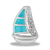 Sailboat Crystal Large Charm for Keepsake Lockets