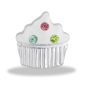 Frosted Cupcake Crystal Large Charm for Keepsake Lockets
