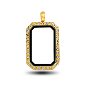 Gold Rectangular Locket Head for Floating Charm Jewelry