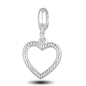 Ribbed Heart Photo Charm for Beaded Jewelry