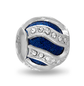 Blue Swirl Decorative Crystal DaVinci Bead