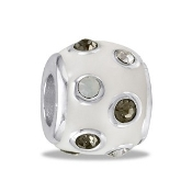 White Enamel CZ Bead - TRUNK SALE, NO FURTHER DISCOUNT