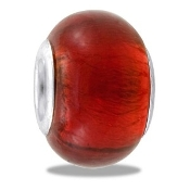Red Foil Glass Bead - TRUNK SALE - No Further Discounts