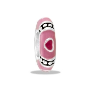 Pink Heart Spacer Bead- TRUNK SALE - No Further Discount