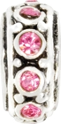 Pink Crystal and Silver Plate Wheel Bead by Amanda Blu