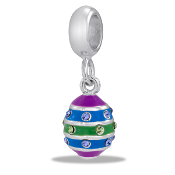 Painted Egg CZ Bead - TRUNK SALE, NO FURTHER DISCOUNT