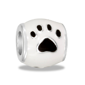 White Enamel Paw Bead by DaVinci