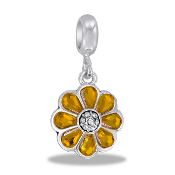 Daisy CZ Dangle Bead  - TRUNK SALE - No Further Discounts