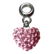 October - Austrian Crystal Double Sided Heart Pave Bead