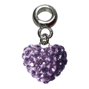 June - Austrian Crystal Double Sided Heart Pave Bead